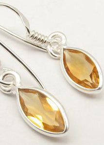 Solid Silver Marquise Citrine Drop Earrings