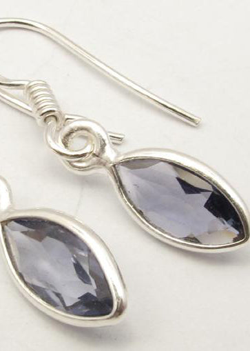 Solid Silver Iolite Marquise Drop Earrings