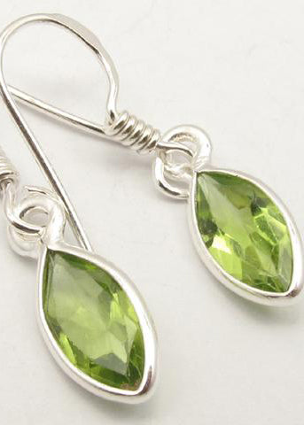 Solid Silver Peridot Marquise Drop Earrings