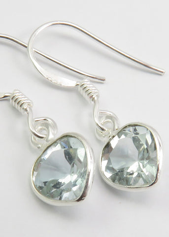 Solid Silver Mini Tear-drop Aquamarine Drop Earrings