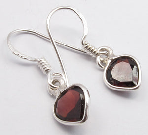 Garnet Solid Silver Mini Heart Tear Drop Earrings at 'r a f t clothing'