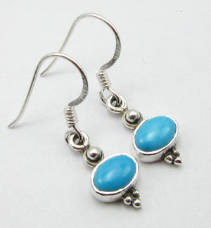 Turquoise Solid Silver Oval Drop Earrings at 'r a f t clothing'