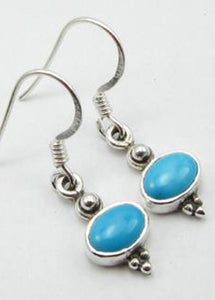 Solid Silver Oval Turquoise Drop Earrings