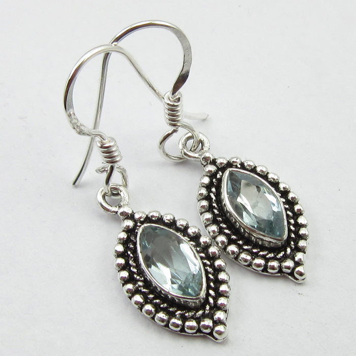 Blue Topaz Solid Silver Ornate Tear Drop Earrings at 'r a f t clothing'