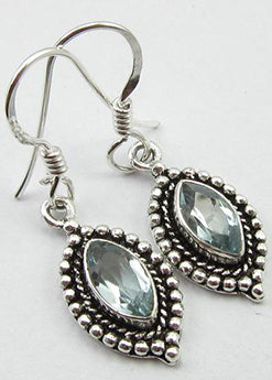 Solid Silver Ornate Blue Topaz Drop Earrings