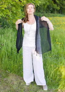 Gossamer Fine Cotton Scarf in Squid Ink Black
