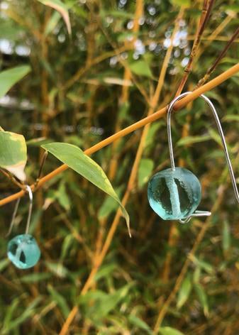 Tumbled Glass Earrings in Aqua Sea Green