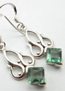 Solid Silver Green Apatite Raj Drop Earrings