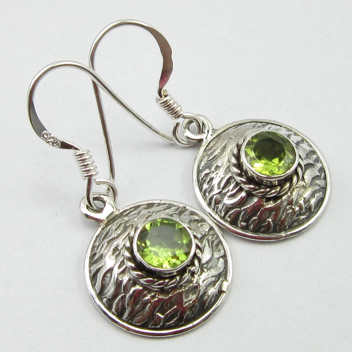 Peridot Solid Silver Basket Weave Disc Drop Earrings at 'r a f t clothing'