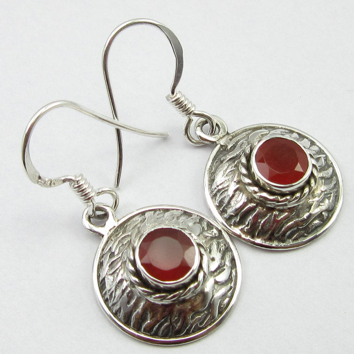 Carnelian Solid Silver Basket Weave Disc Drop Earrings at 'r a f t clothing'