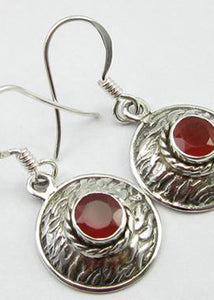 Solid Silver Basket Weave Disc Drop Carnelian Earrings