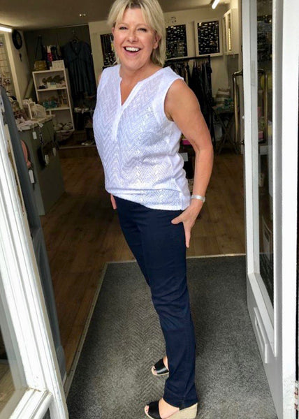 Marie Full Length  Denim Jeans in Navy