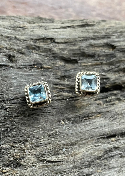 Solid Silver Square Blue Topaz Stud Earrings
