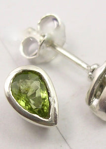 Solid Silver Peridot Tear-Drop Stud Earrings