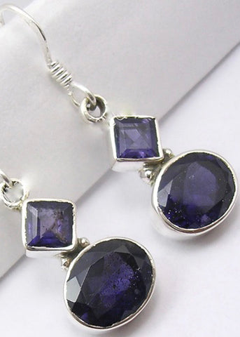 Solid Silver Diamond and Oval Drop Iolite Drop Earrings