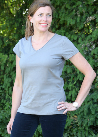 V neck Short Sleeved Tee in Taupe.
