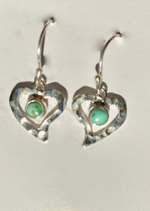 Solid Silver Heart Turquoise Drop Earrings