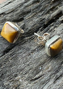 Solid Silver Cabochon Square Tigers Eye  Stud Earrings