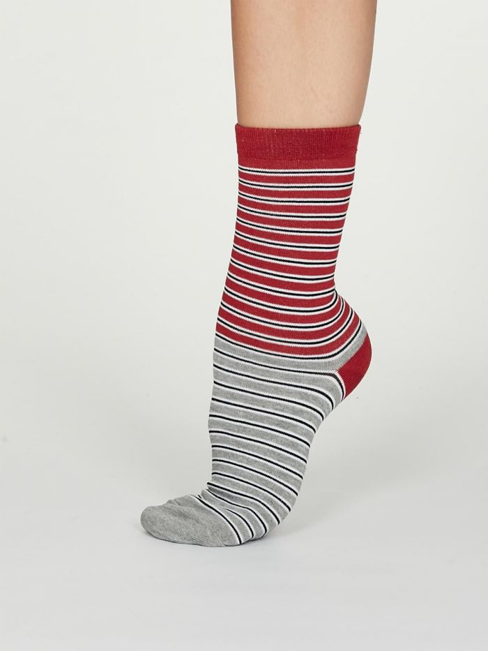 Isabel Bamboo Stripe Socks in Coral Red