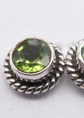 Solid Silver Peridot Round Stud Earrings