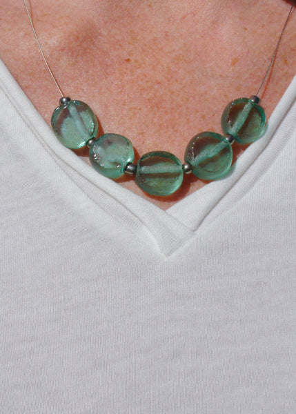 Tumbled Glass Necklace in Aqua Sea Green