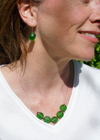 Tumbled Glass Earrings in Green