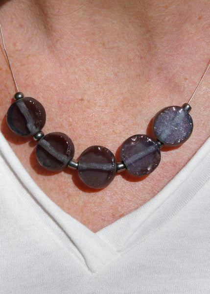 Tumbled Glass Necklace in Smoky Indigo
