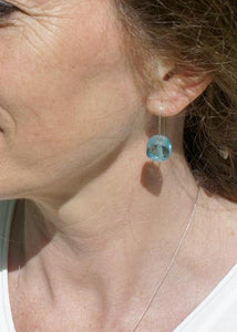 Tumbled Glass Earrings in Aqua Sea Blue