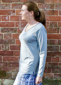 Long Sleeve Cotton soft V neck Tee in French Grey