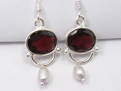 Oval Drop Garnet Solid Silver Earrings with Pearls