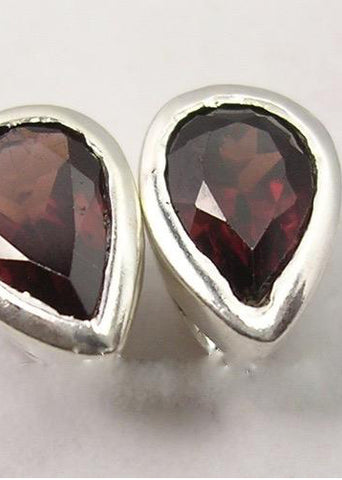 Solid Silver Garnet Tear Drop Stud Earrings