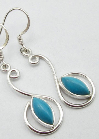 Solid Silver Turquoise Scroll Drop Earrings