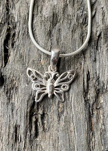 Simple Butterfly Solid Silver Pendant and Chain