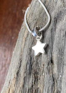 Simple Star Solid Silver Pendant and Chain