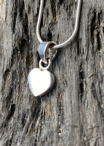 Simple Heart Solid Silver Pendant and Chain