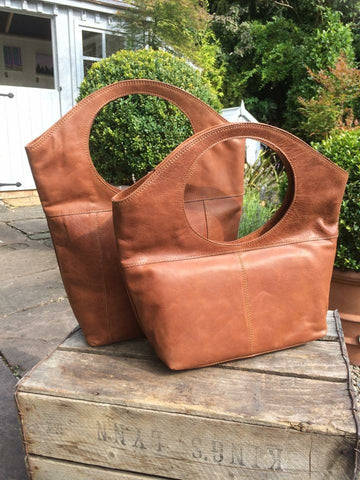 Moroccan Leather Bags in Tan (large)