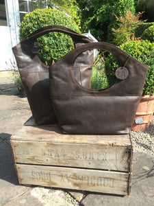 Moroccan Leather Bag in Conker Brown (medium)