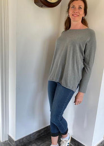 Cashmere Mix Round Neck Knit in Soft Grey