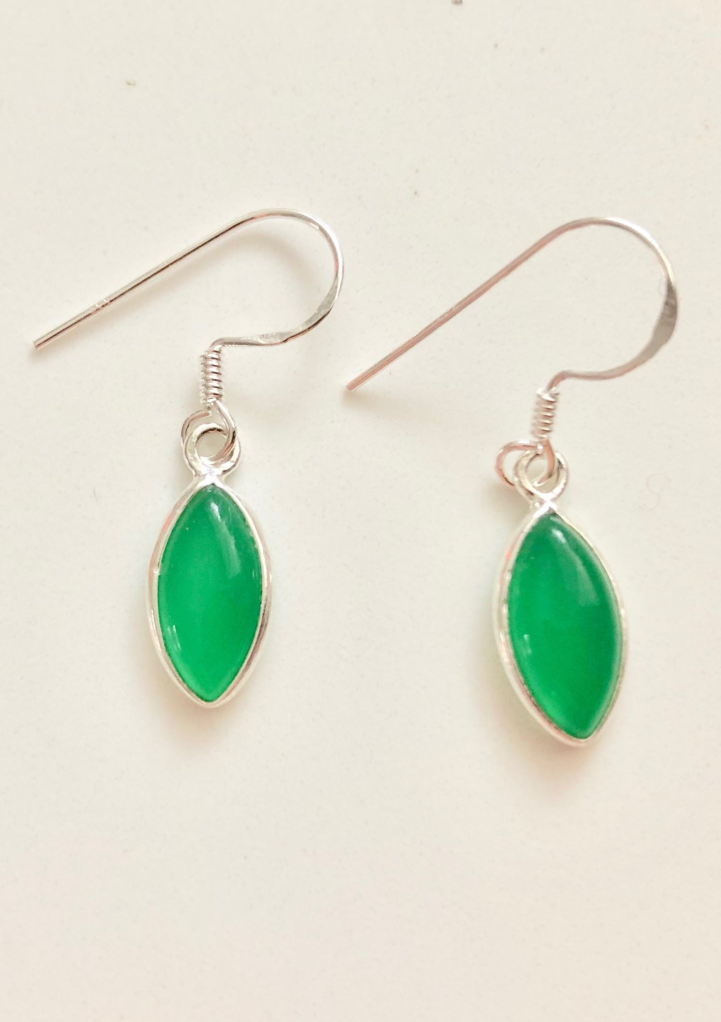 Solid Silver Marquise Green Onyx Drop Earrings