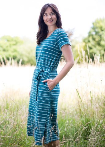 Weekend Dress in Painterly Dark Teal Stripe