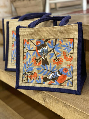 Raft Jute Bag in Cheeky Chaffinch Print