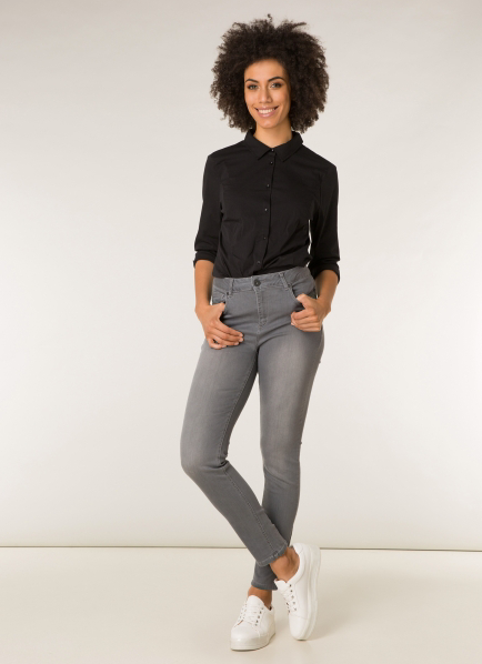 Joy Slim Fit Stretch Jeans in Light Grey