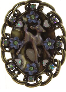 Necklace Pendant Fawn and Flowers