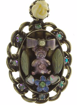 Arsenic in Old Lace Necklace Pendant Teddy and Flowers