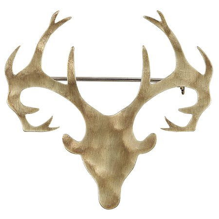 The Deer Small Brass Stags Head Broach