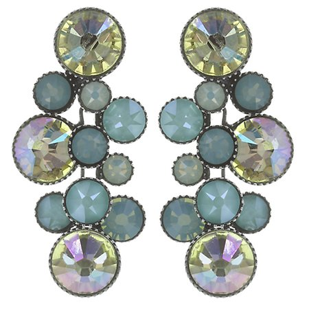 Water Cascade Dangling Stud Earrings-aqua
