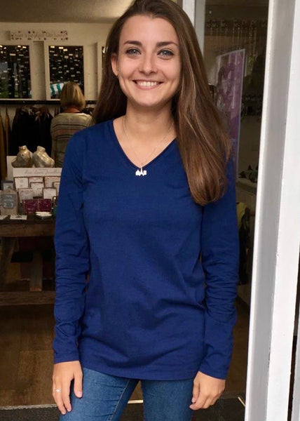 Long Sleeve Cotton soft V neck Tee in French Navy