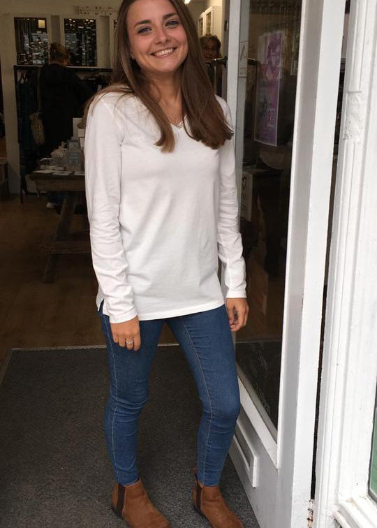 100% cotton soft v neck RaftClothing long sleeved tee shirt with slit hem detail.