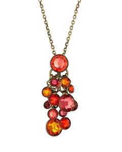 Waterfalls Pendant Necklace in Caralline and Orange Light