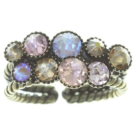 Water Cascade shot antique pink crystal Ring